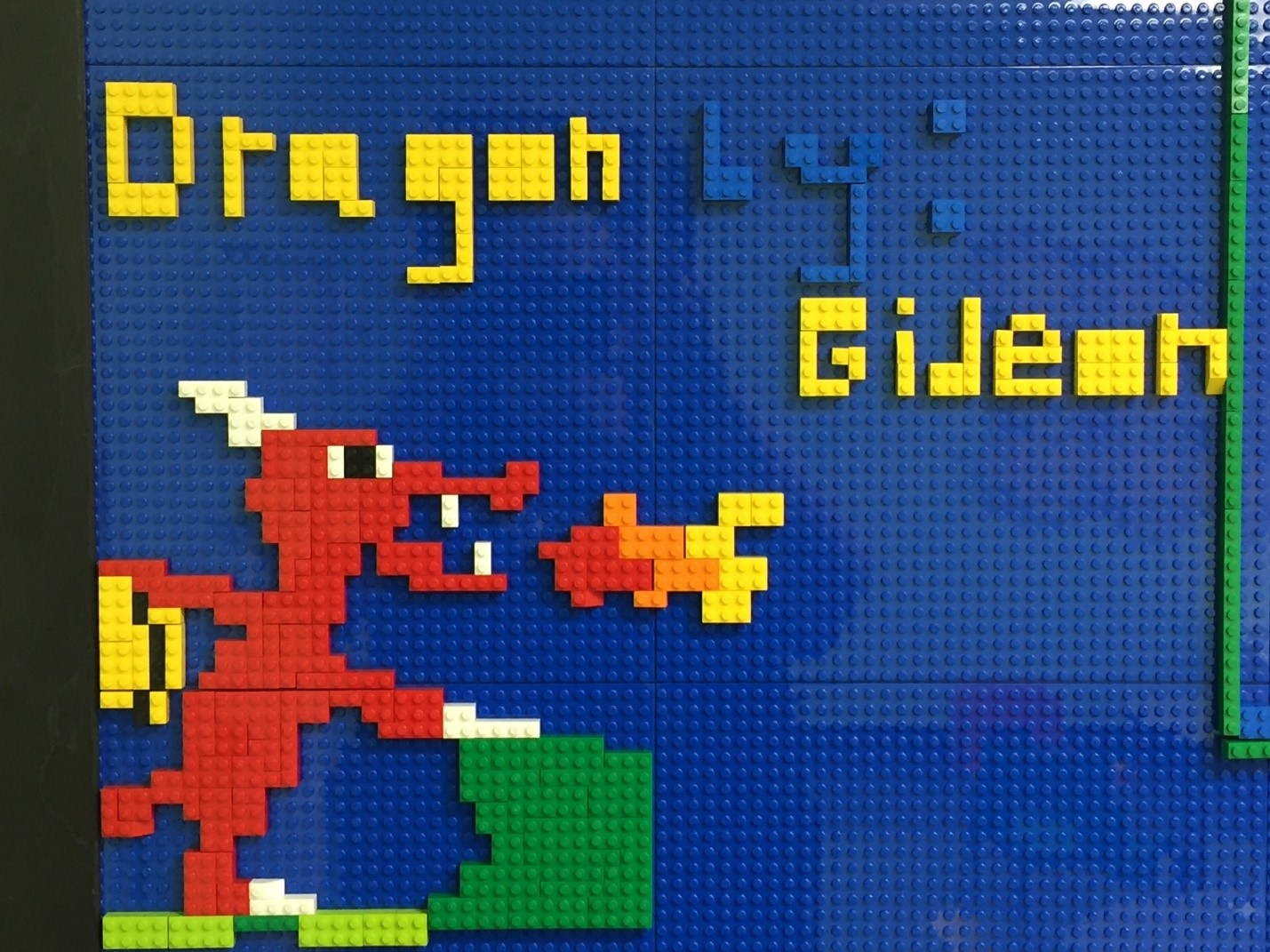 Dragon design created on the lego wall in the Family Art Studio.