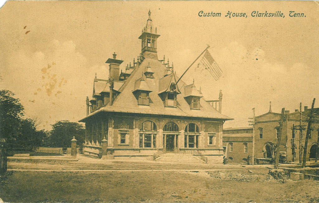 Archived image of recently constructed Customs House & U.S. Post Office, circa 1898.