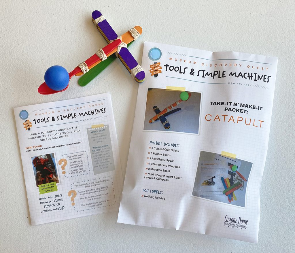 Product photo of 'Tools and Simple Machine' Museum Discovery Quest pamphlet, activity packet and completed catapult.