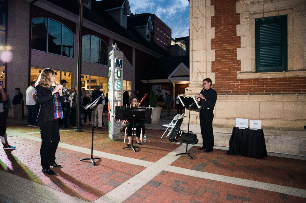 Gateway Chamber Orchestra musicians play for visitors at the Grand Illumination.