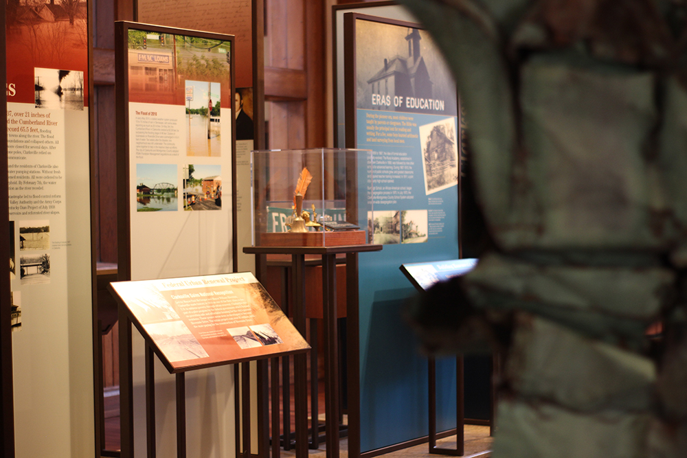 Artifacts on display in the Becoming Clarksville exhibit.