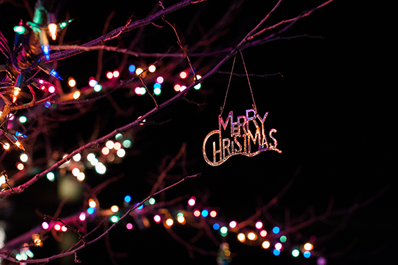 Nighttime image of lighted tree with 'Merry Christmas' ornament hanging from a branch