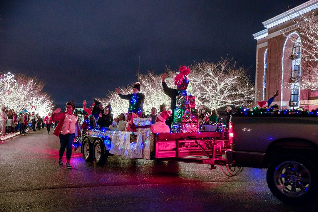 Nighttime scene of Clarksville's themed Christmas parade in downtown Clarksville