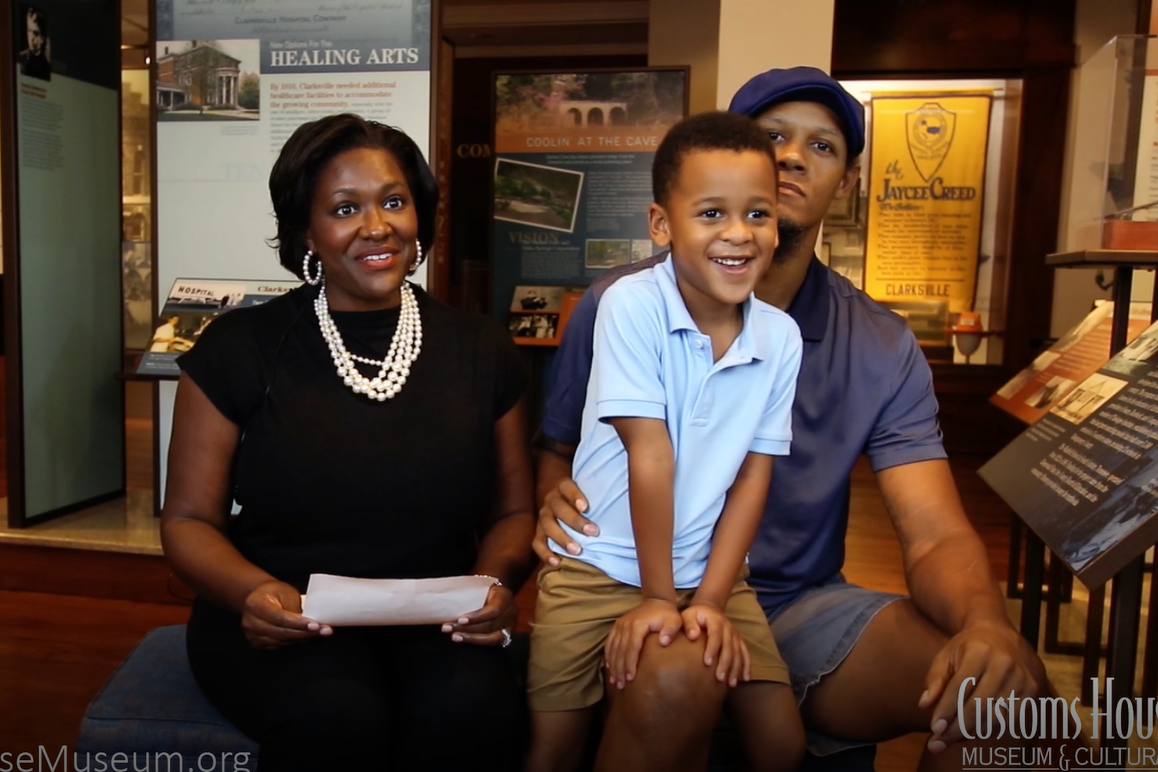 Screenshot from video of Gail Young and family in the Becoming Clarksville exhibit