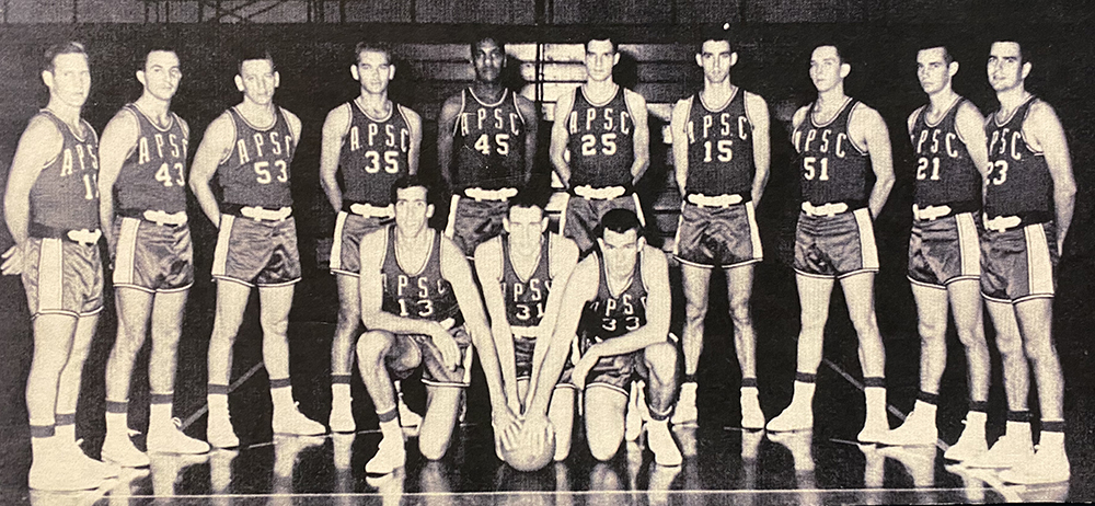 Austin Peay Special School Basketball team photo with L. M. Ellis standing in the middle.