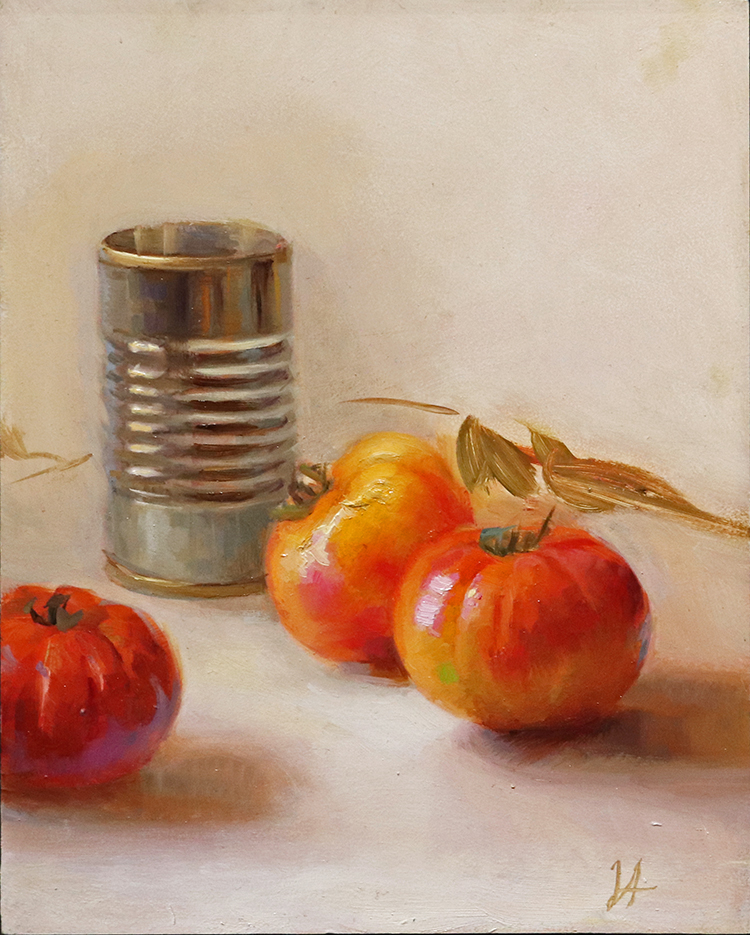 Close up of Aristides' oil painting 'Tin' focused on tin can and several red tomatoes.
