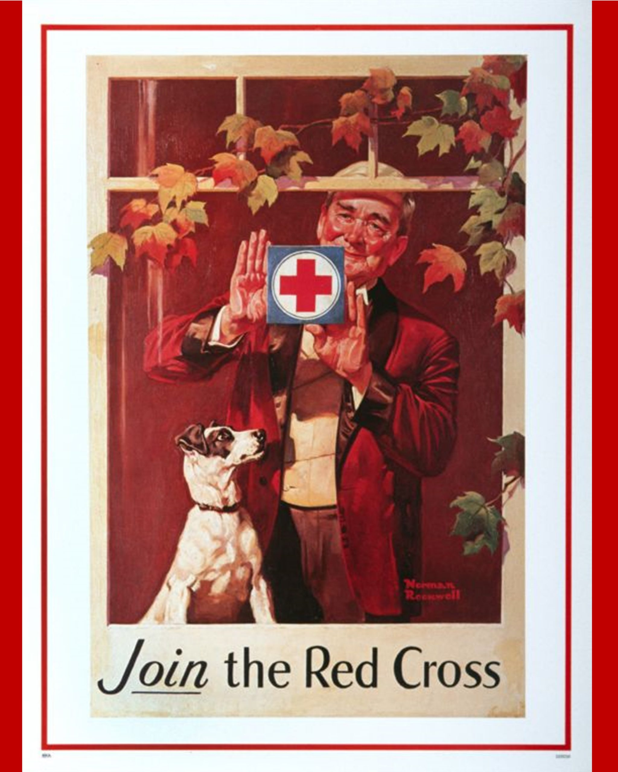 American Red Cross promotional poster. Depicts elderly man with dog posting a Red Cross plus in his window.
