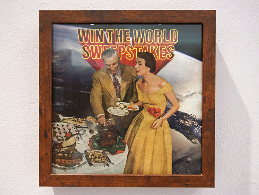 """Photo collage of a 60's couple putting food on a dinner plate. She is wearing a yellow dress and he has a faded yellow suit on. Earth from space is in the background with the words """"Win the World Sweepstakes"""" cut out above them."""