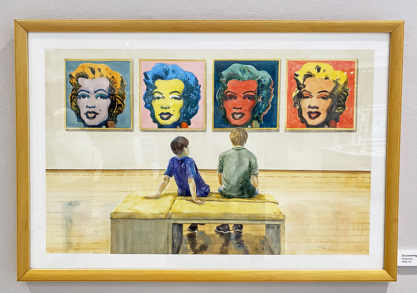 Watercolor painting of two young boys sitting on a bench in a gallery looking across to four Andy Warhol-style paintings of Marilyn Monroe hanging on the wall.