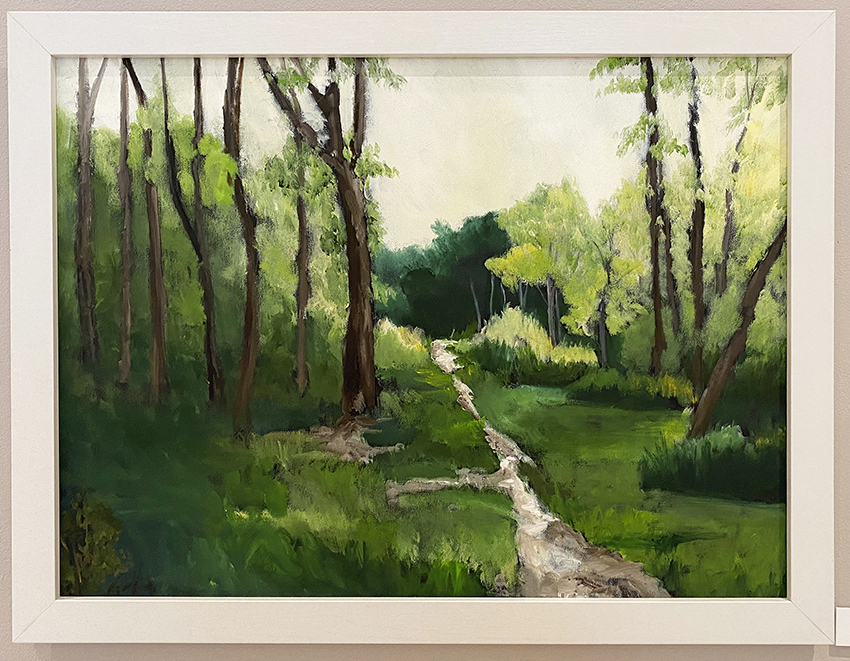 Oil painting of a grassy scene from Rotary Park. Tress, grassy and a trail can be seen.